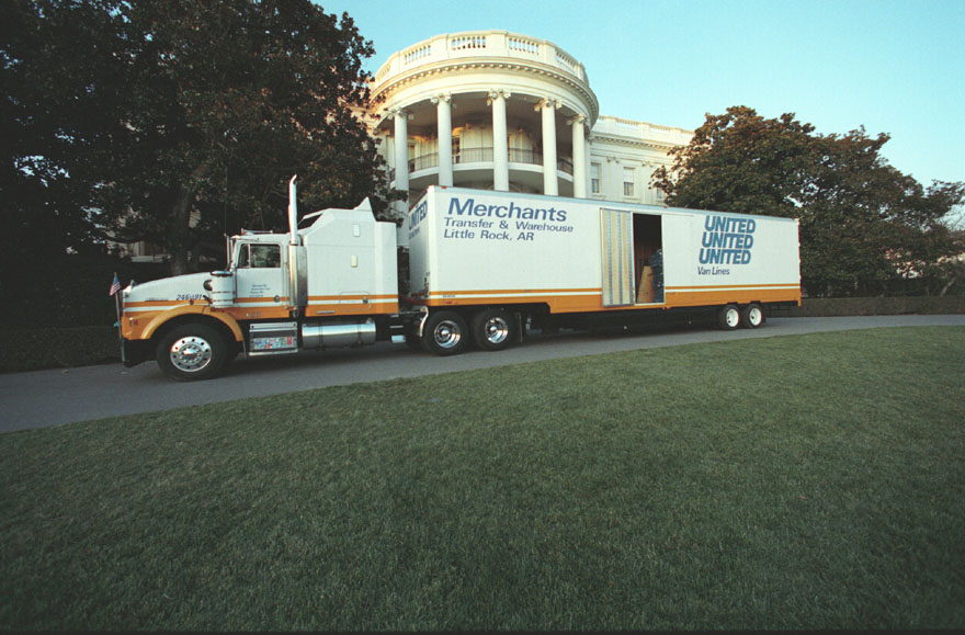 Moving van outside the White House on January 20, 1993.