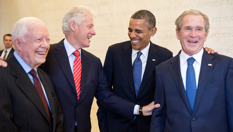 Jimmy Carter, Bill Clinton, Barack Obama and George W. Bush Together at the Lincoln Memorial