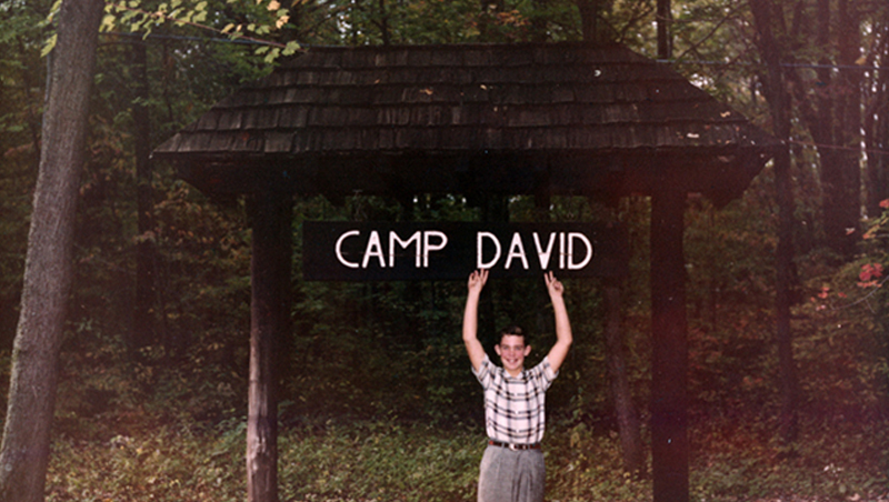 David at the Camp David Sign