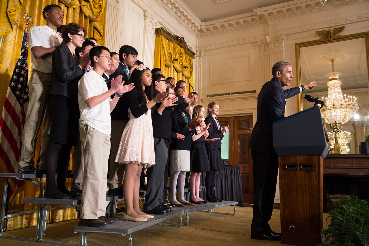 President Barack Obama delivers remarks during the 2015 White House Science Fair celebrating student winners of a broad range of science, technology, engineering, and math (STEM) competitions, in the East Room, March 23, 2015. (Official White House Photo by Chuck Kennedy)