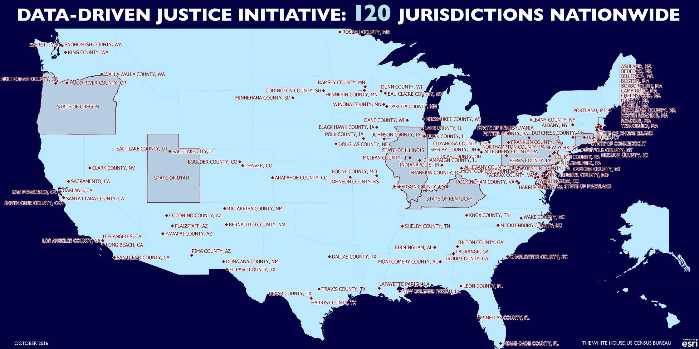 US Map: Data-Driven Justice Initiative: 120 Jurisdictions Nationwide