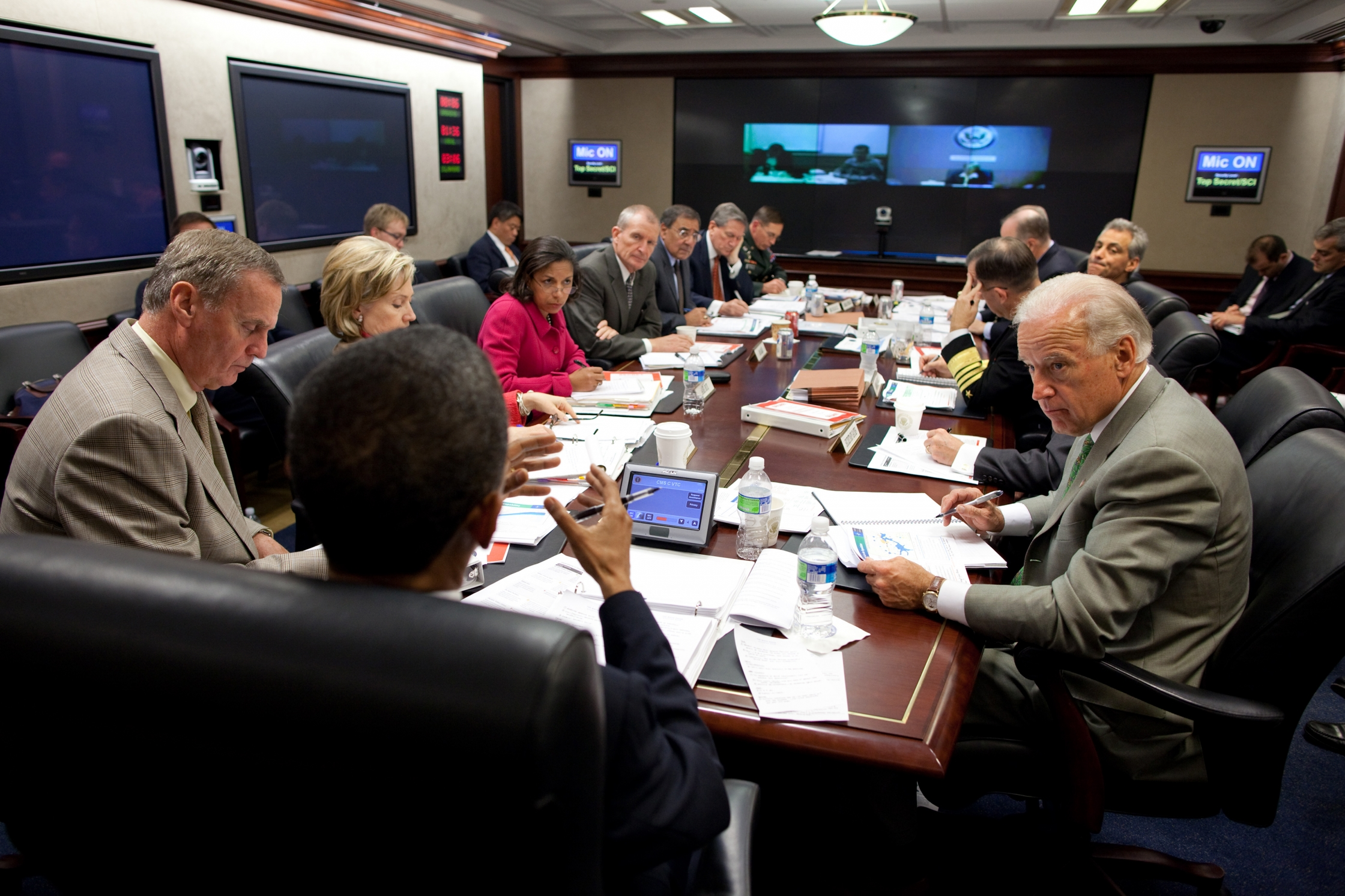 President Barack Obama attends a briefing on Afghanistan in the Situation Room of the White House, Oct. 9, 2009. (Official White House Photo by Pete Souza)