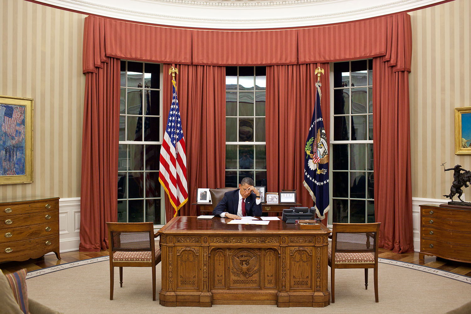 President Obama in the Oval Office prior to the Bin Laden statement