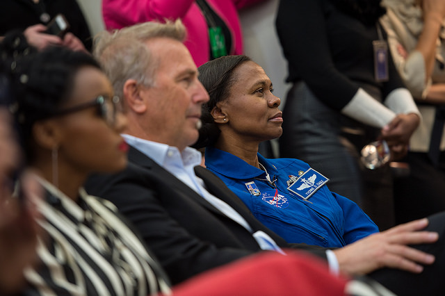 NASA astronaut Yvonne Cagle joins cast from Hidden Figures for the First Lady's remarks. (Photo credit: NASA)