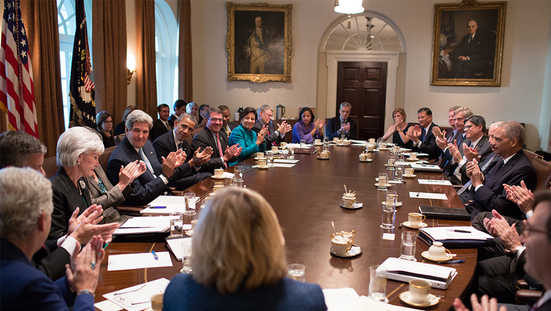 Attractive President Obama Leads A Cabinet Meeting In The Cabinet Room