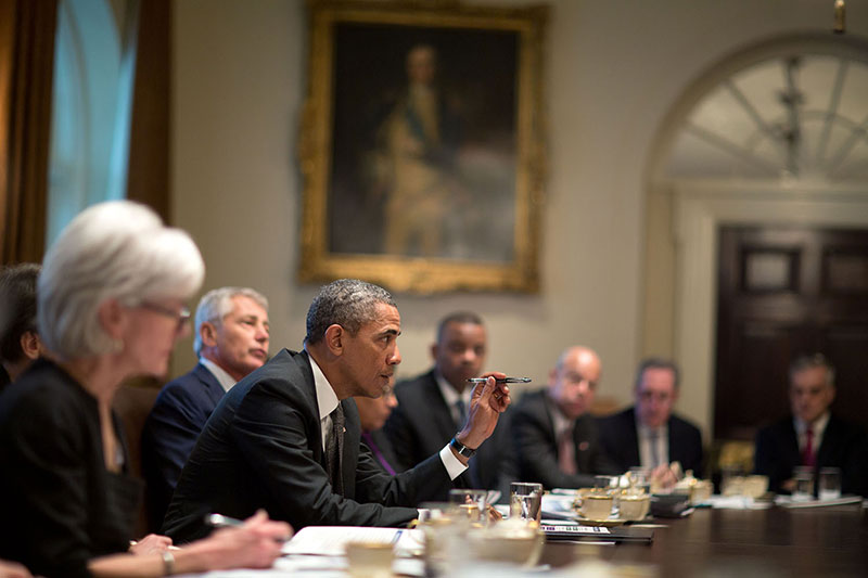 President Obama Presides Over His Cabinet.