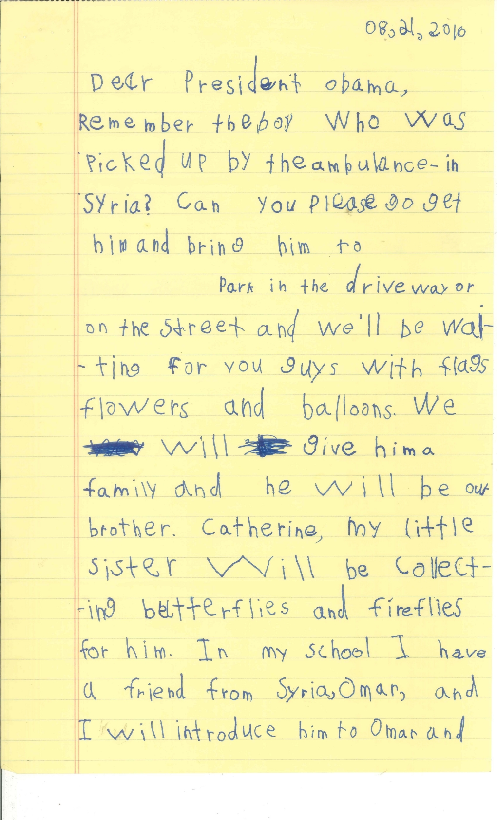 A six year olds letter to the president we will give him a alex letter page 1 expocarfo