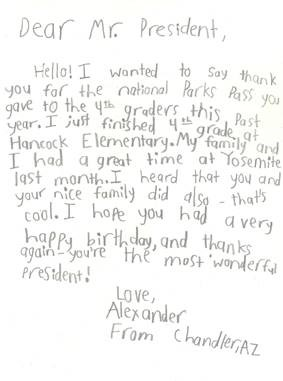 lexander from Arizona, sent a letter to the President thanking him for a great year in 4th grade
