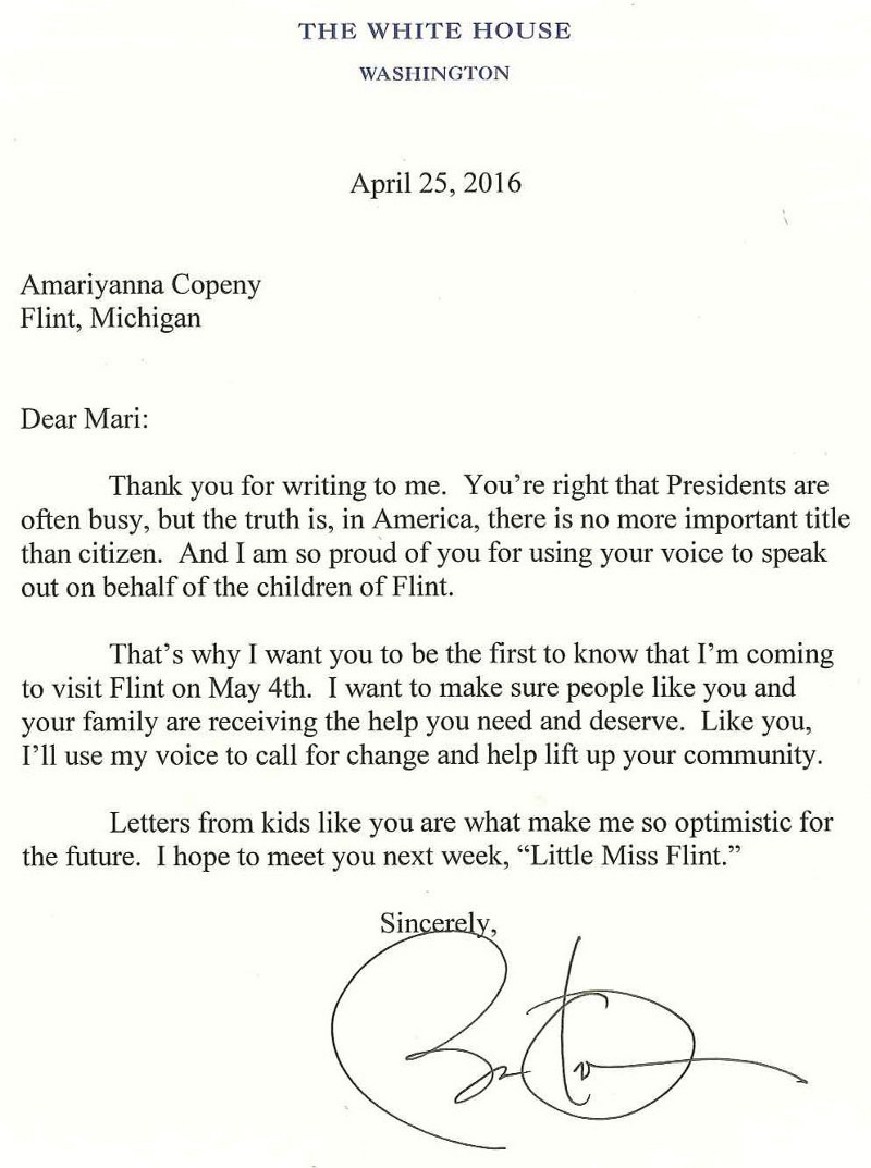 president obamas reply to mari