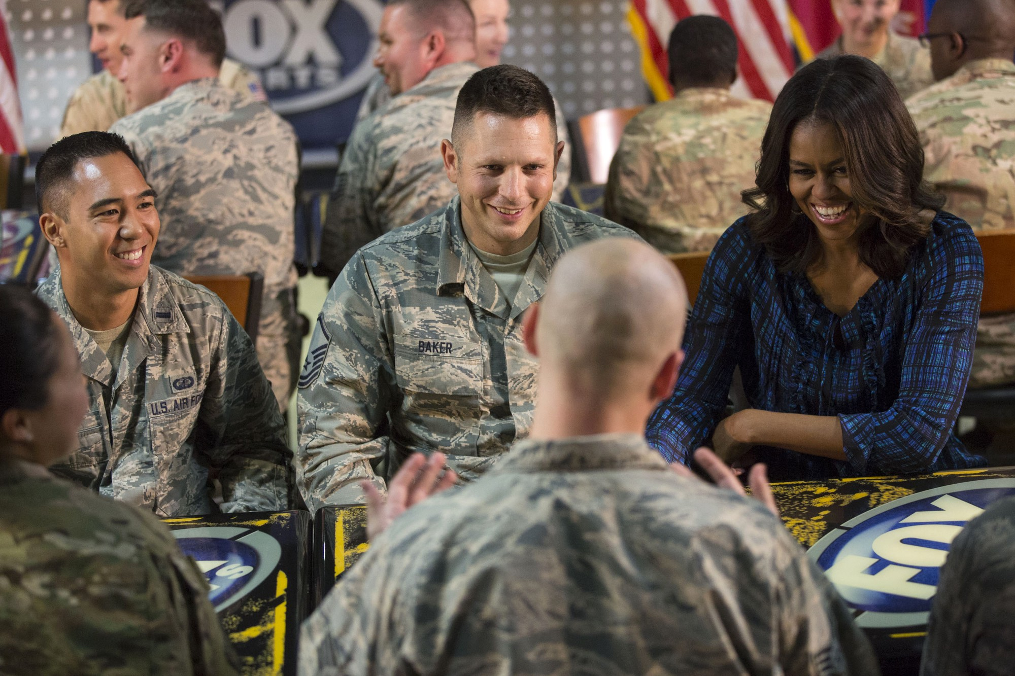 First Lady Michelle Obama participate in a meet and greet with service members, in support of the Joining Forces initiative, at Al Udeid Air Base in Qatar, Nov. 3, 2015. (Official White House Photo by Amanda Lucidon)