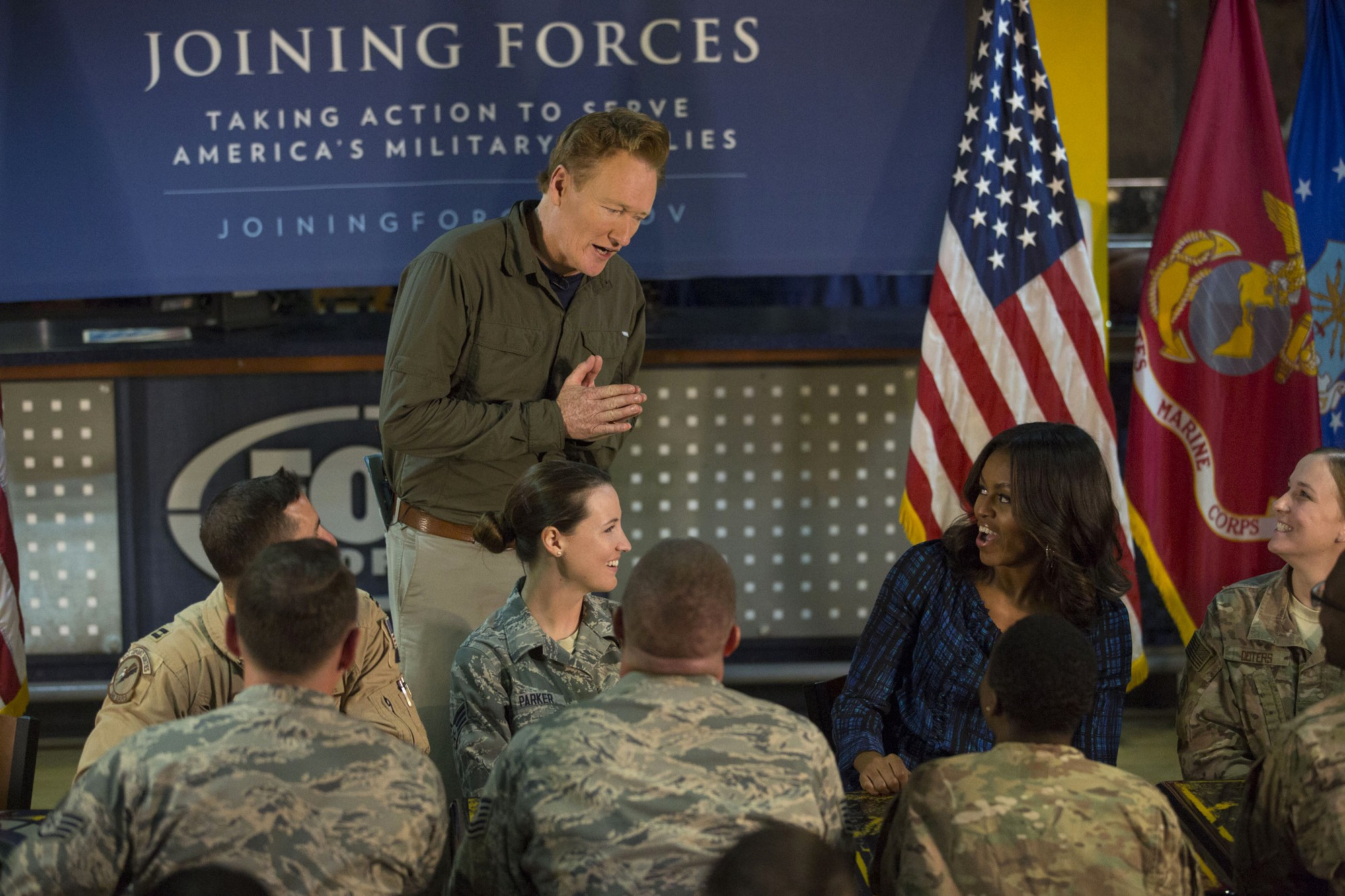 First Lady Michelle Obama and Conan O'Brien participate in a meet and greet with service members, in support of the Joining Forces initiative, at Al Udeid Air Base in Qatar, Nov. 3, 2015. (Official White House Photo by Amanda Lucidon)