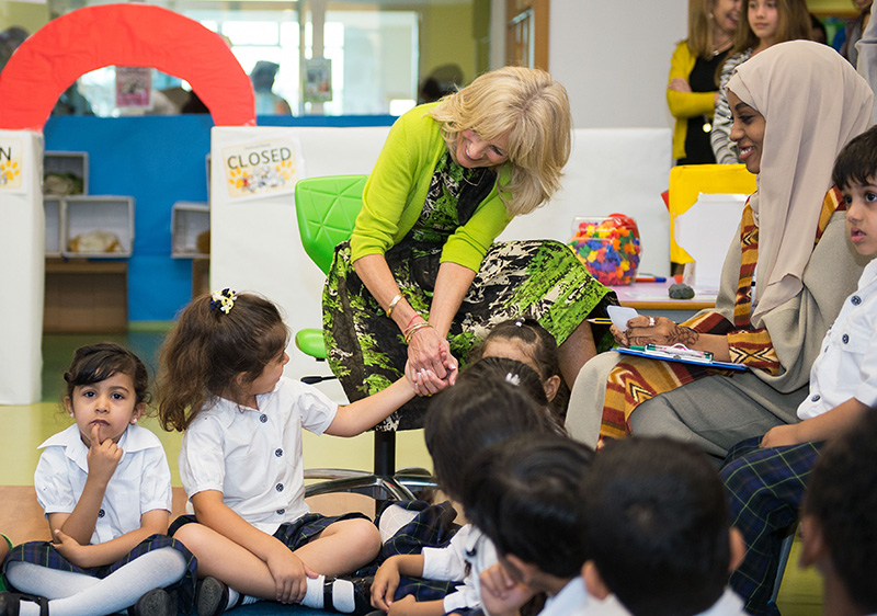 Dr. Biden with schoolchildren in Dubai