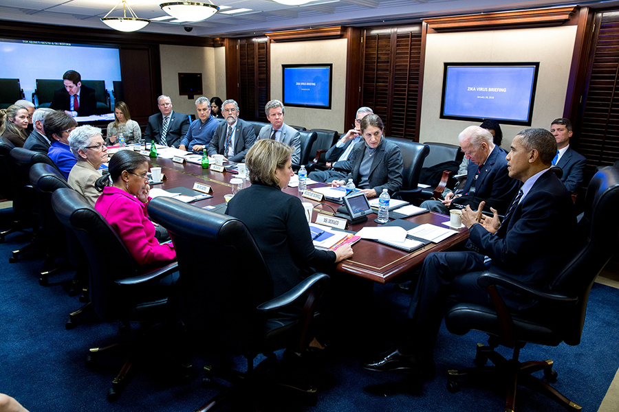 President Barack Obama convenes a meeting on the Zika virus