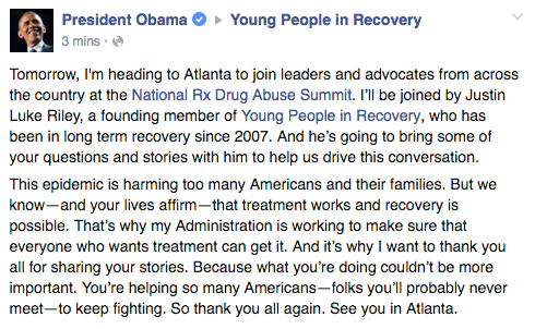 President Obama announces Atlanta trip to Young People in Recovery on Facebook