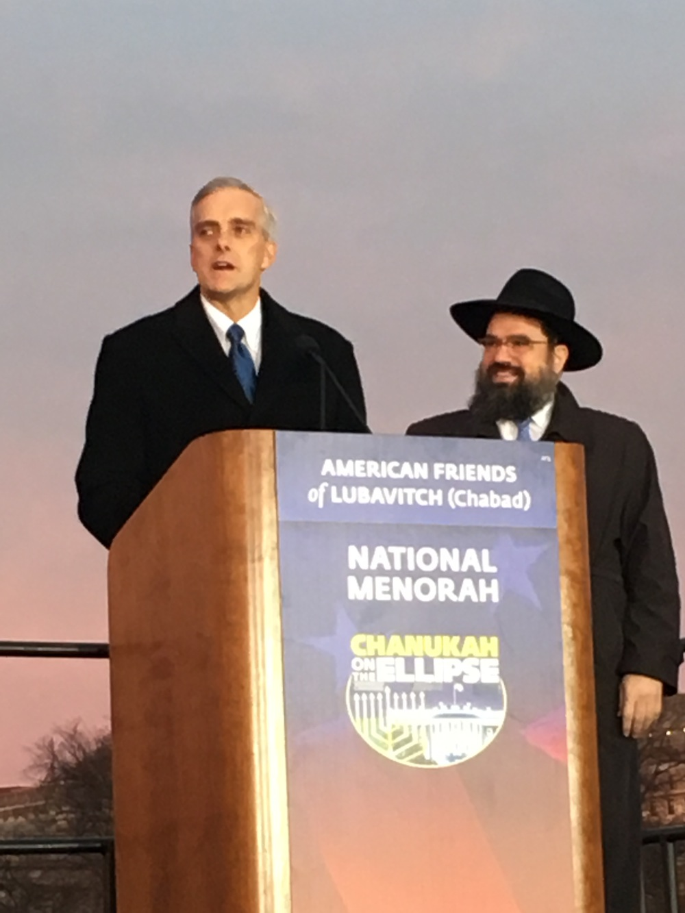 Chief of Staff Denis McDonough lights the national menorah at Chanukkah on the Ellipse