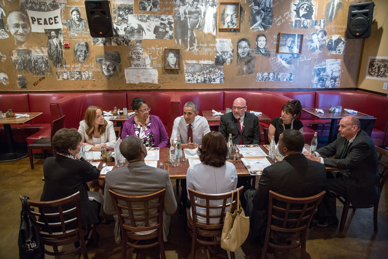 President Barack Obama meets for lunch with formerly incarcerated individuals
