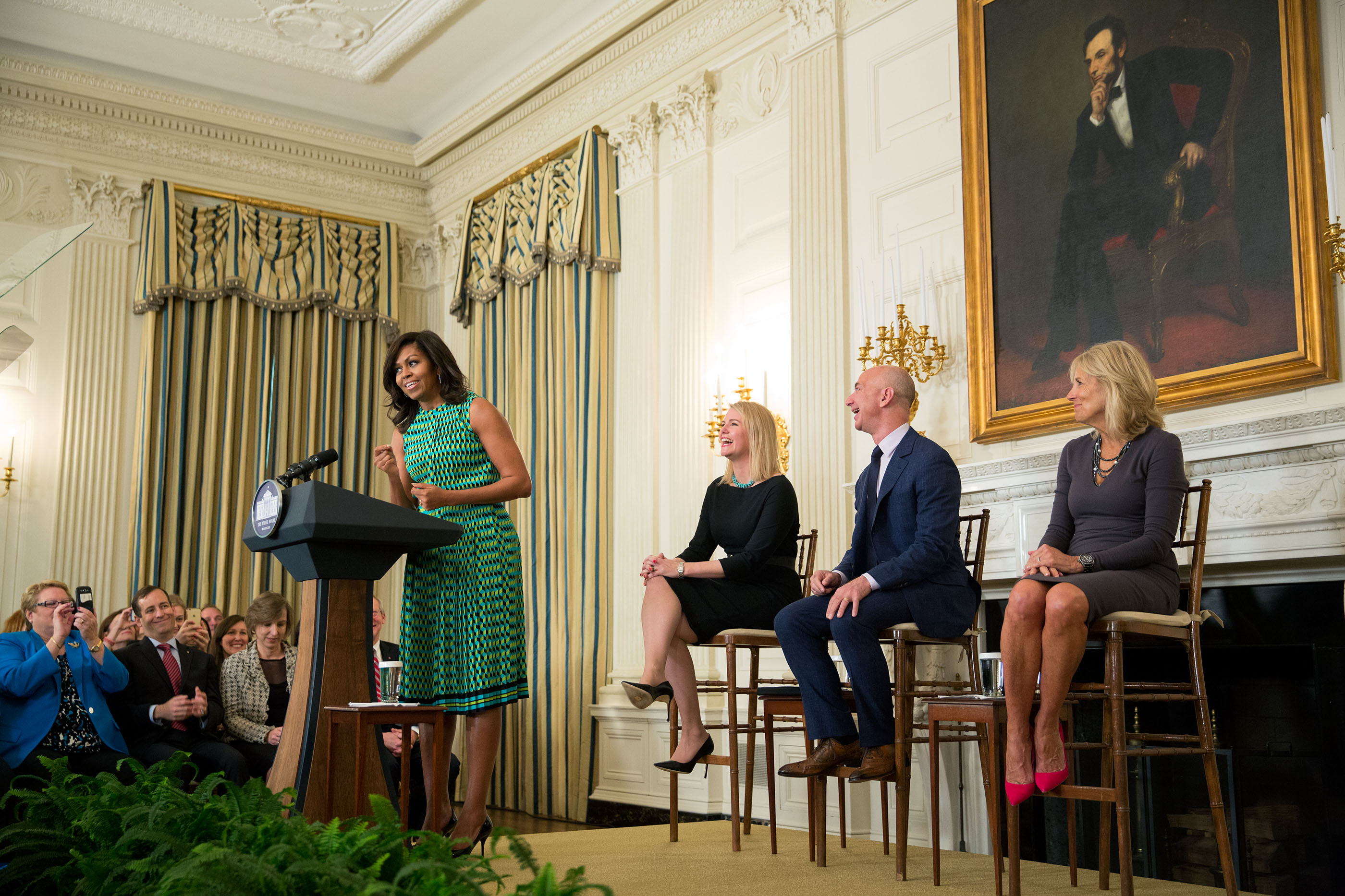 First Lady Michelle Obama and Dr. Jill Biden, in support of Joining Forces, host an event announcing commitments from more than 50 companies that have pledge to hire and train veterans and military spouses,