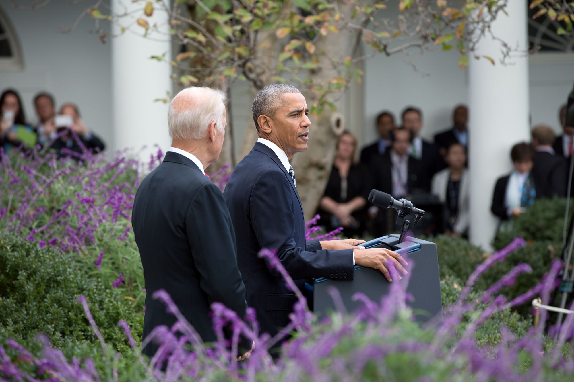President Barack Obama, with Vice President Joe Biden, delivers a statement regarding the U.S. election results, in the Rose Garden of the White House, Nov. 9, 2016. (Official White House Photo by Pete Souza)