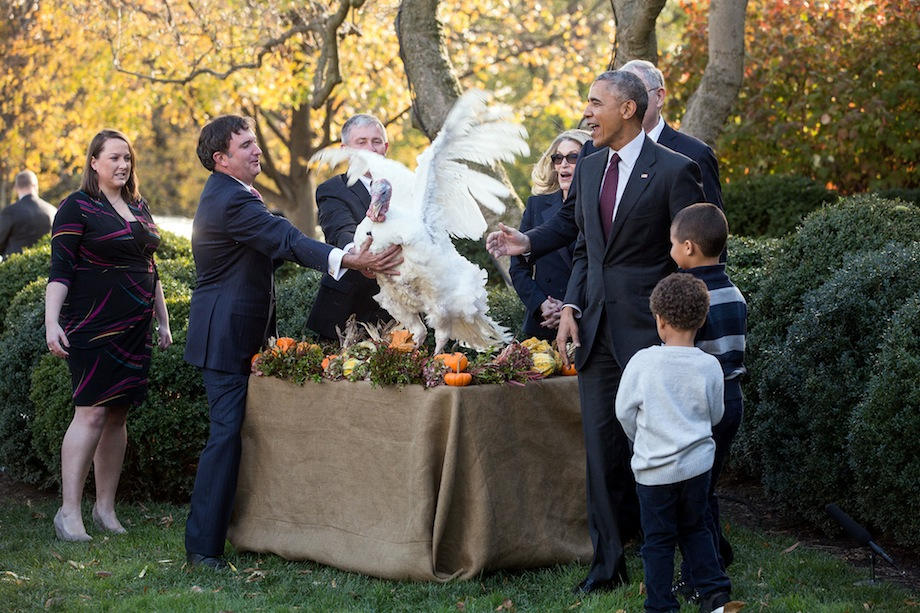 President Barack Obama and nephews Austin and Aaron Robinson watch the National Thanksgiving Turkey, Tater, flap during the pardon of the National Thanksgiving Turkey ceremony in the Rose Garden of the White House, Nov. 23, 2016