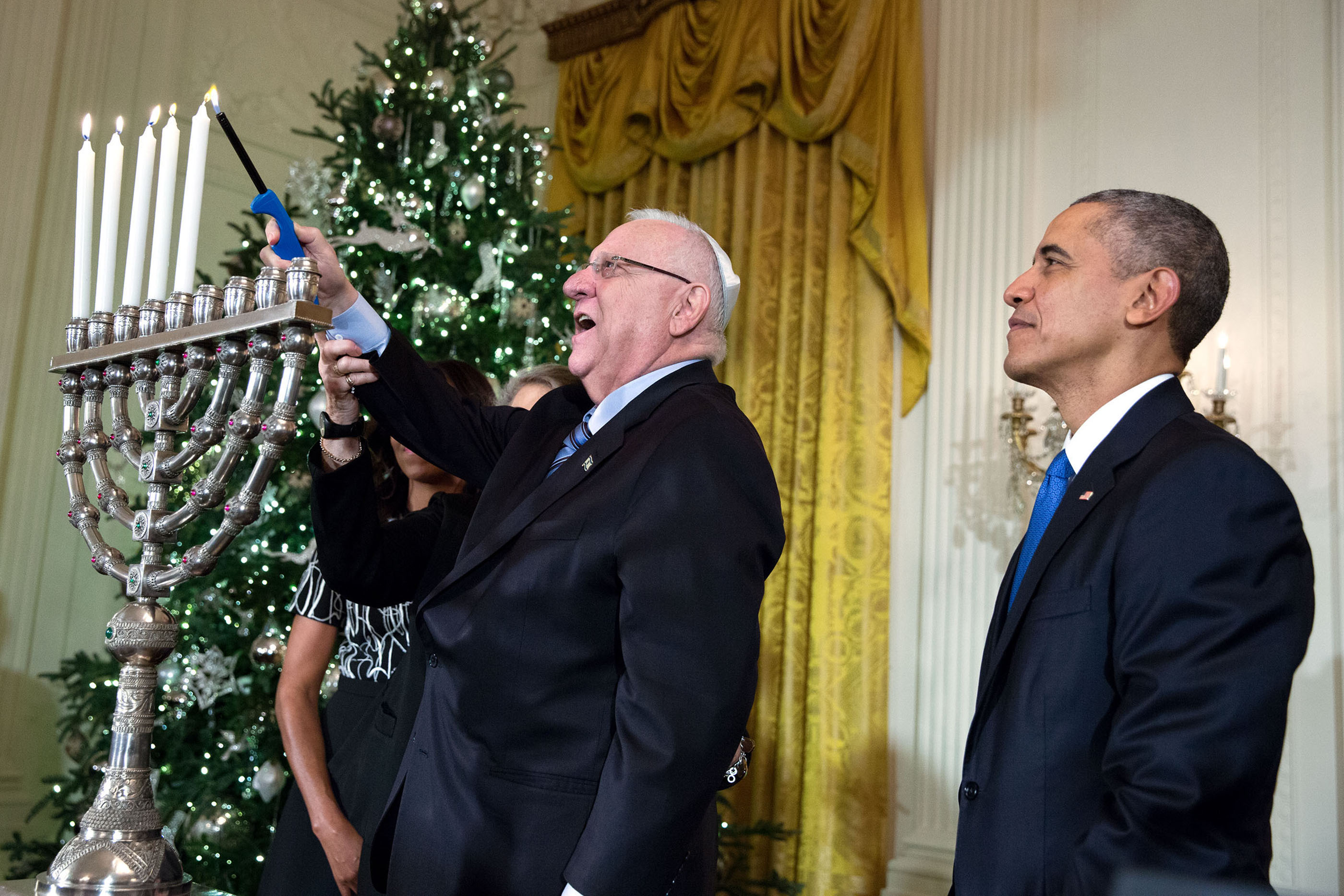 Image result for hanukkah obama rivlin