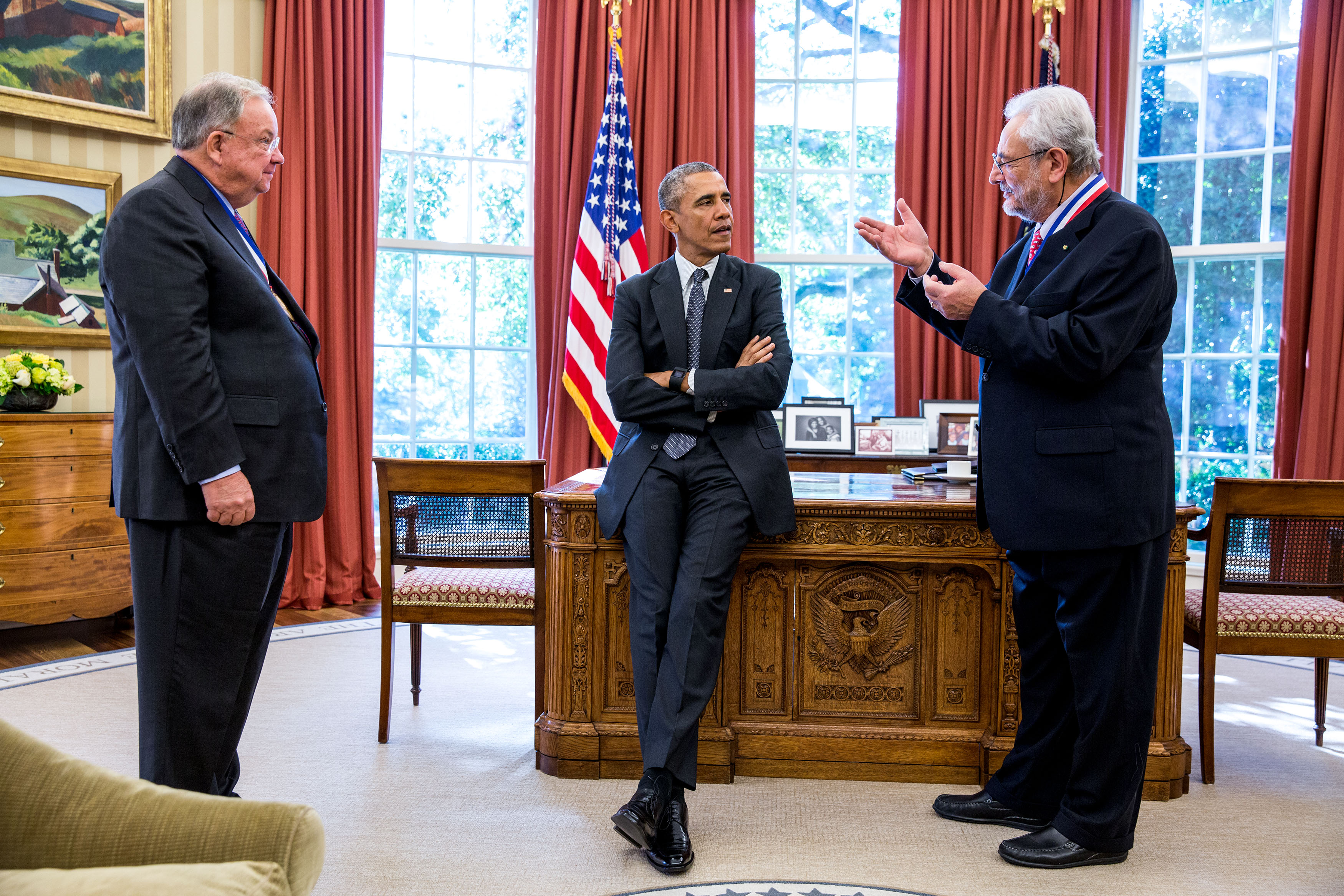 President Barack Obama greets 2014 Enrico Fermi Award recipients Charles Shank, left, and Claudio Pellegrini in the Oval Office, Oct. 20, 2015. (Official White House Photo by Pete Souza)