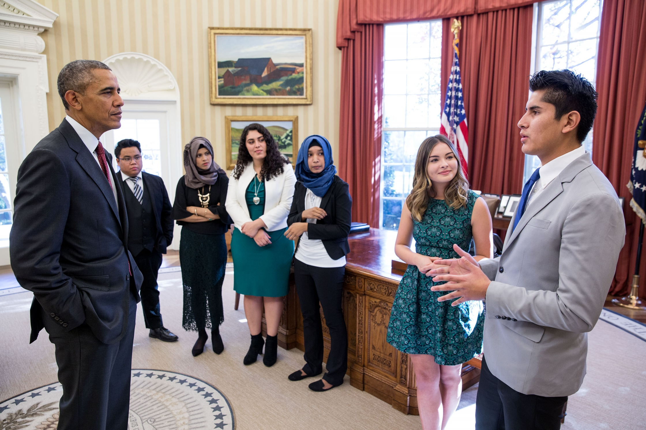 President Barack Obama greets winners of youth entrepreneurship competitions in the Oval Office, Nov. 25, 2015. The President greets from left to right: Joseph Fortuno, Jannatul Rowshan, Crystal Sanchez, Urbana Anam, Rachel Gorgas, and Kenneth Huertas. (Photo Credit: White House/Pete Souza)