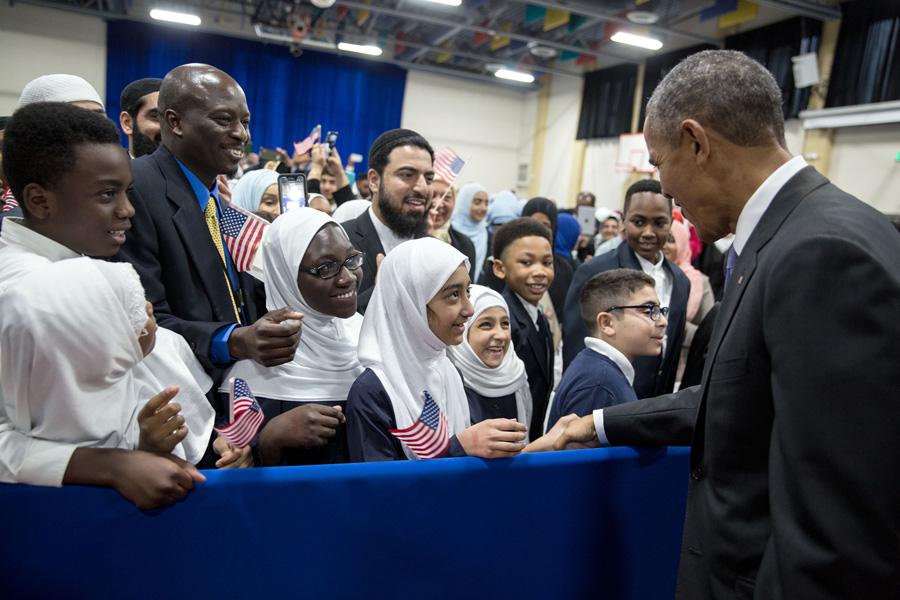 President Obama visits a mosque in Baltimore