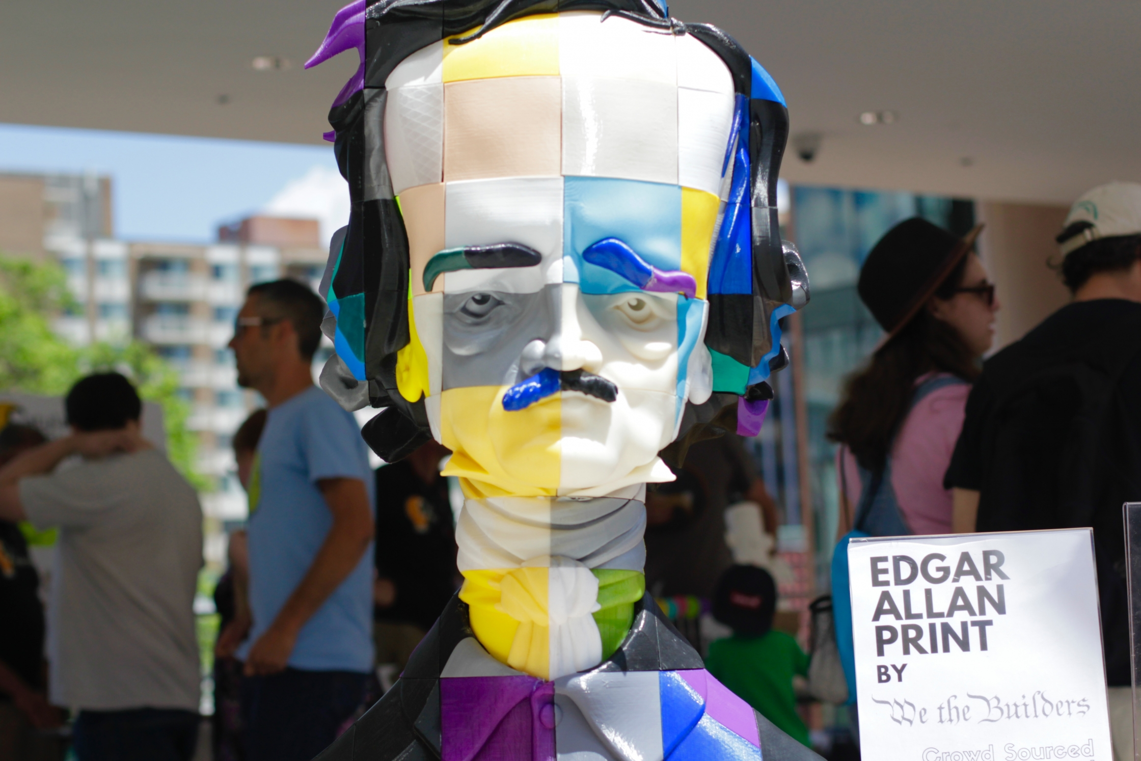 "On display at the National Maker Faire, ""Edgar Allan Print"" was created by We the Builders as a crowd-sourced project involving more than 300 pieces 3D printed by individuals from around the country and assembled into a single statue. (Photo Credit: Tyler Daniels)"