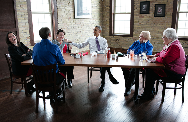 President Obama with ACA letter writers in Milwaukee