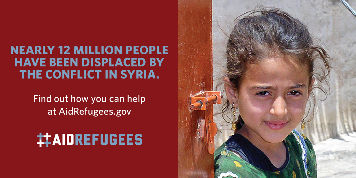 Nearly 12 million people have been displaced by the conflict in Syria. Find out how you can help at AidRefugees.gov