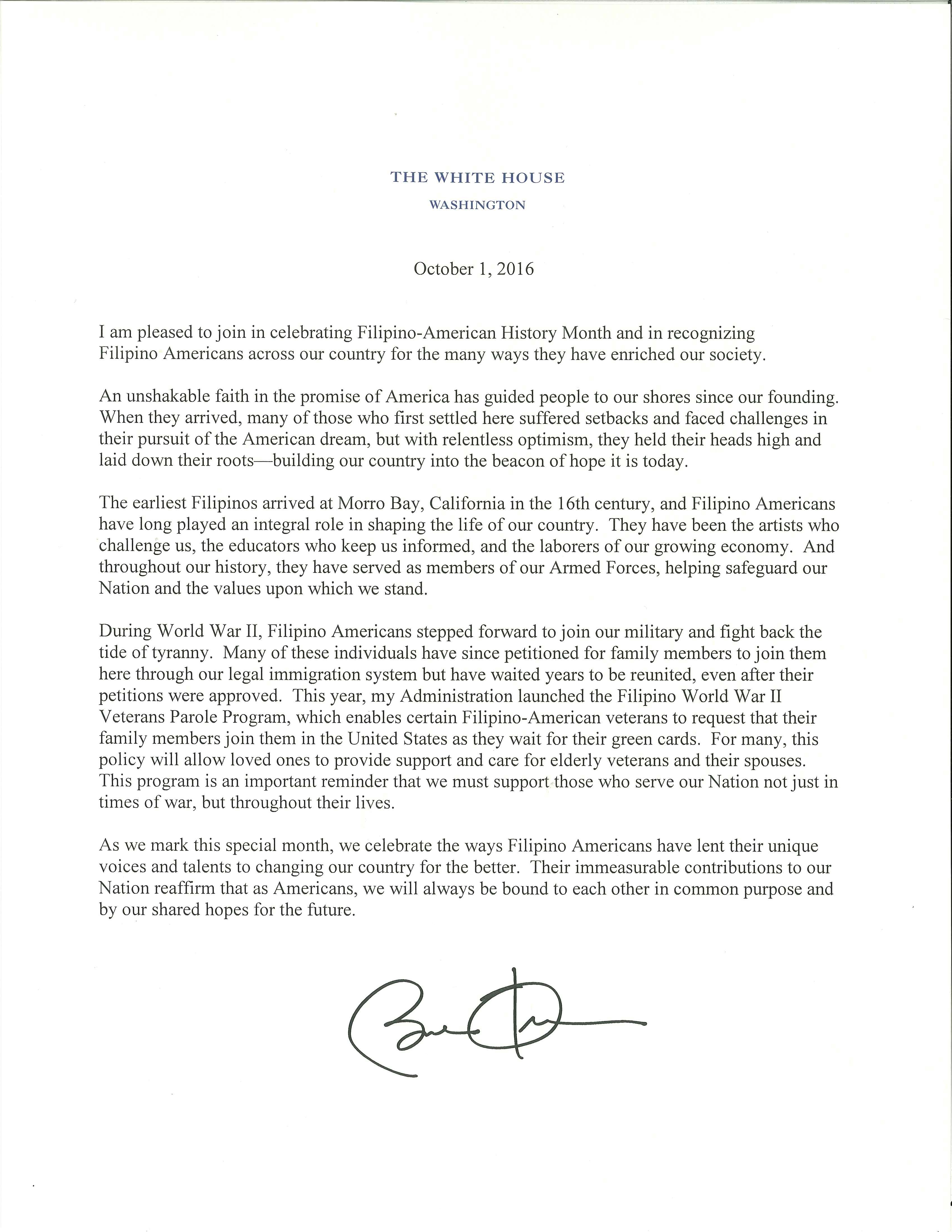 President's Message on Filpino American History Month