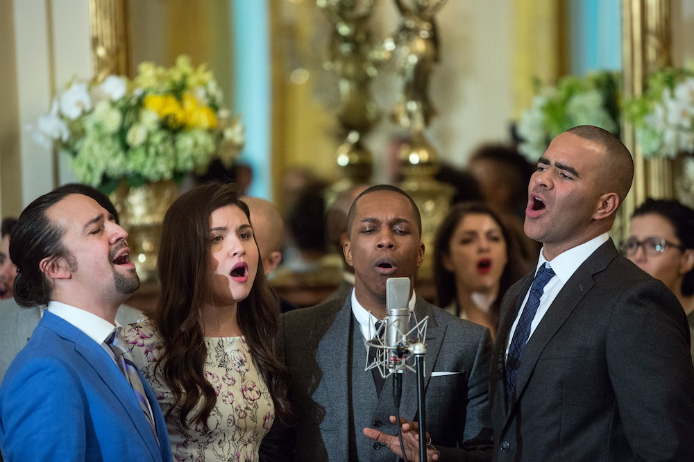 "Cast members perform musical selections from the Broadway musical ""Hamilton"" in the East Room of the White House, March 14, 2016. (Official White House Photo by Amanda Lucidon)"
