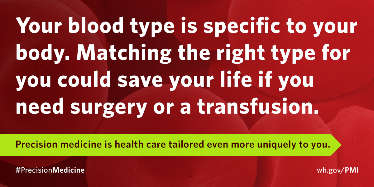 Your blood type is specific to your body. Matching the right type could save your life in case of surgery or transfusion.