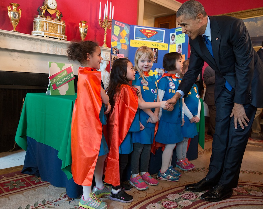 President Barack Obama greets six-year-old Girl Scouts, from Tulsa, Oklahoma