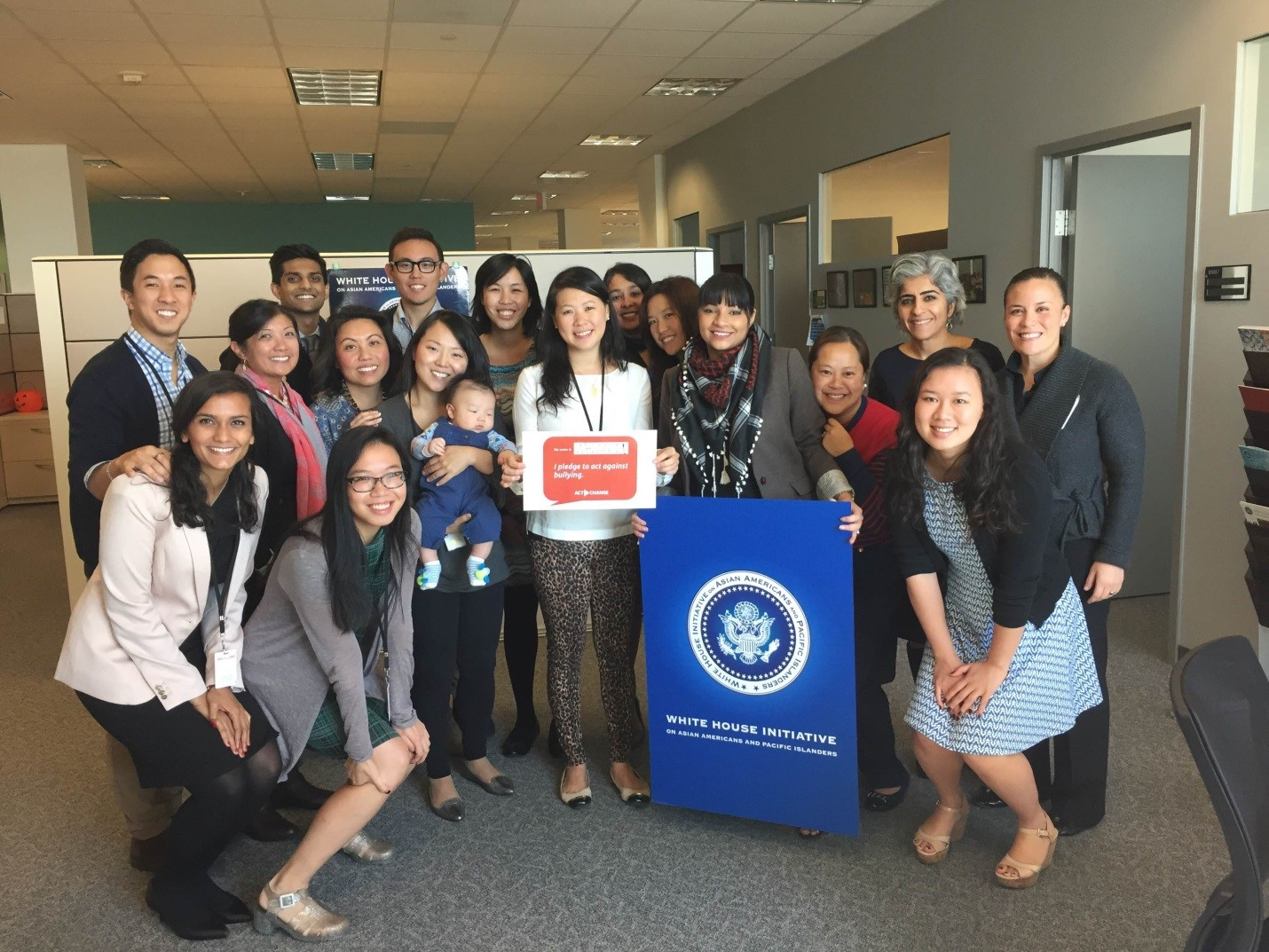 Staff of the White House Initiative on Asian Americans and Pacific Islanders show their support for #ActToChange, a public awareness campaign to combat bullying, October 21, 2015.