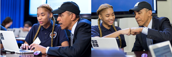 President Obama learns to code during an event at CS Ed Week 2014.