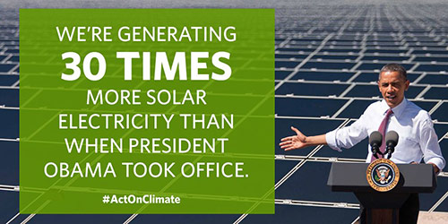 We're generating 30 times more solar electricity than when President Obama took office.