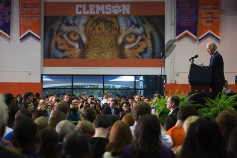 Vice President Joe Biden calls on Clemson to take the It's On Us pledge.