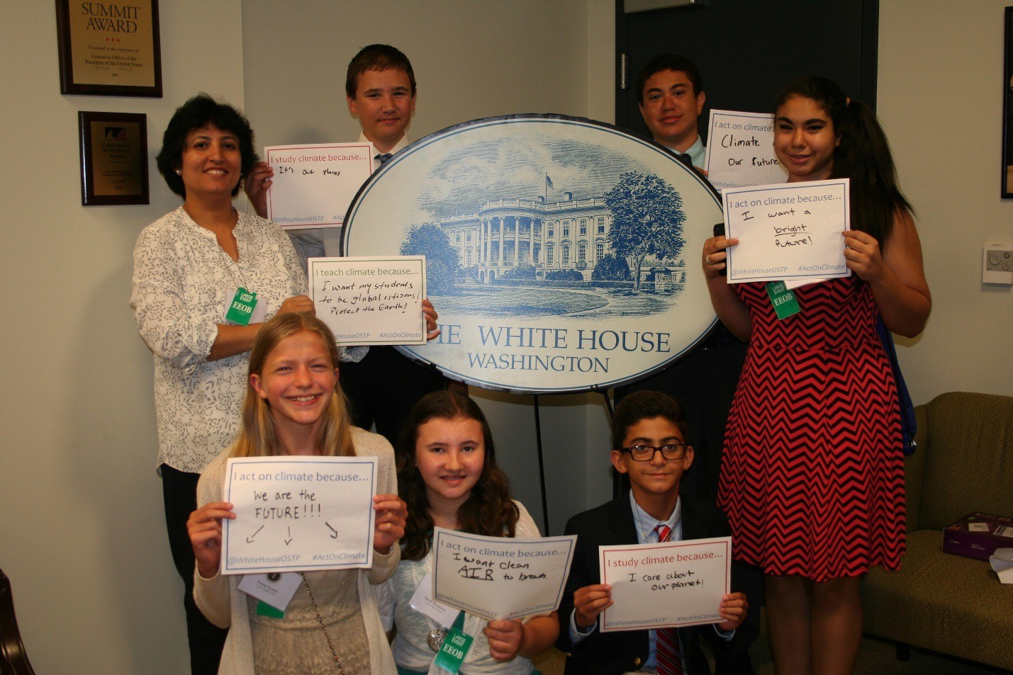 "Students (and a teacher!) at OSTP's ""Back-to-School Climate Education Event"" in August 2015."
