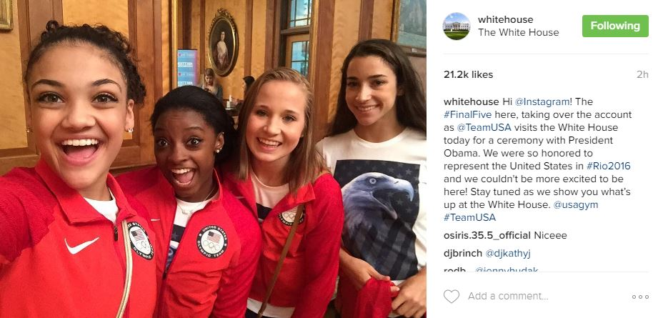 Hi @Instagram! The #FinalFive here, taking over the account as @TeamUSA visits the White House today for a ceremony with President Obama. We were so honored to represent the United States in #Rio2016 and we couldn't be more excited to be here! Stay tuned as we show you what's up at the White House. @usagym #TeamUSA