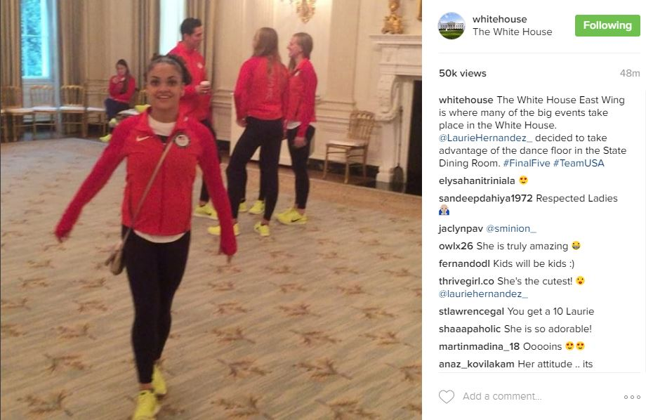 The White House East Wing is where many of the big events take place in the White House. @LaurieHernandez_ decided to take advantage of the dance floor in the State Dining Room. #FinalFive #TeamUSA