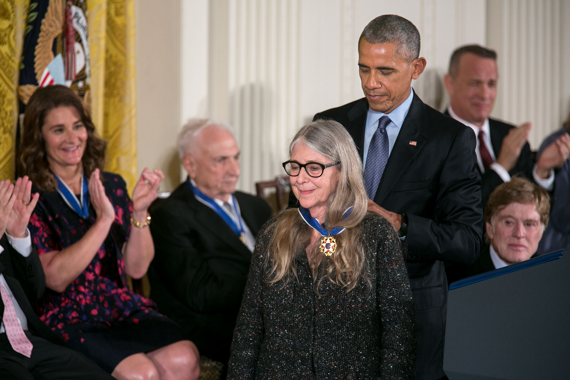 President Barack Obama presents the Presidential Medal of Freedom to Margaret H. Hamilton during a ceremony in the East Room of the White House, Nov. 22, 2016. (Official White House Photo by Lawrence Jackson)