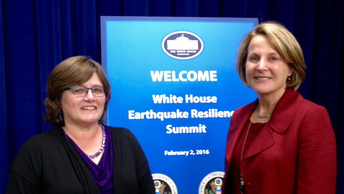 Lucy Jones, left, of the USGS with Alice Hill of the White House National Security Council.