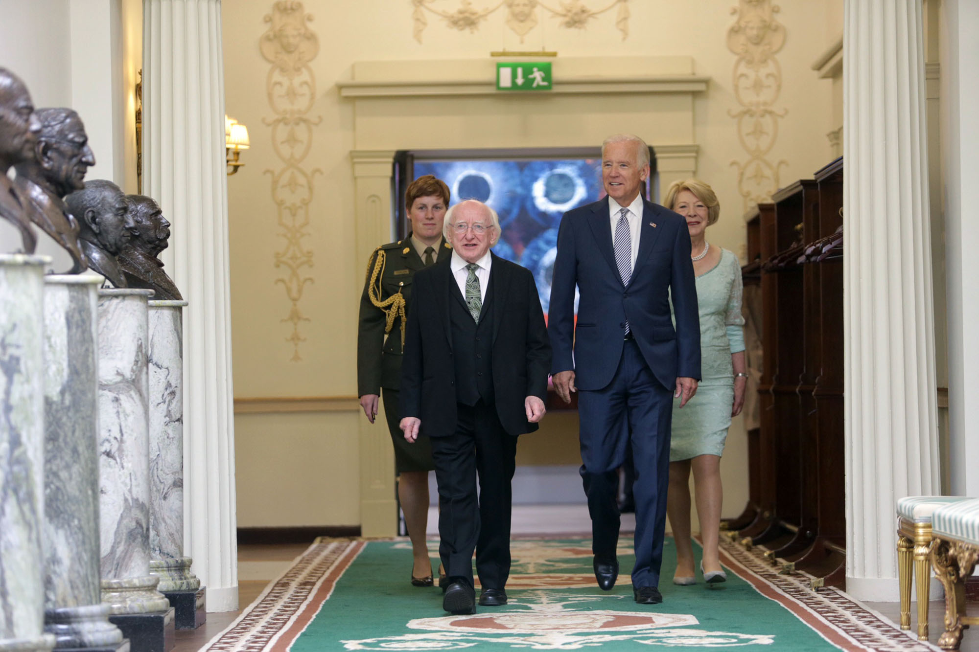Vice President Joe Biden greets President Michael Higgins and Sabina Higgins upon arrival at the President's Residence in Dublin, Ireland, June 22, 2016. (Official White House Photo by David Lienemann)