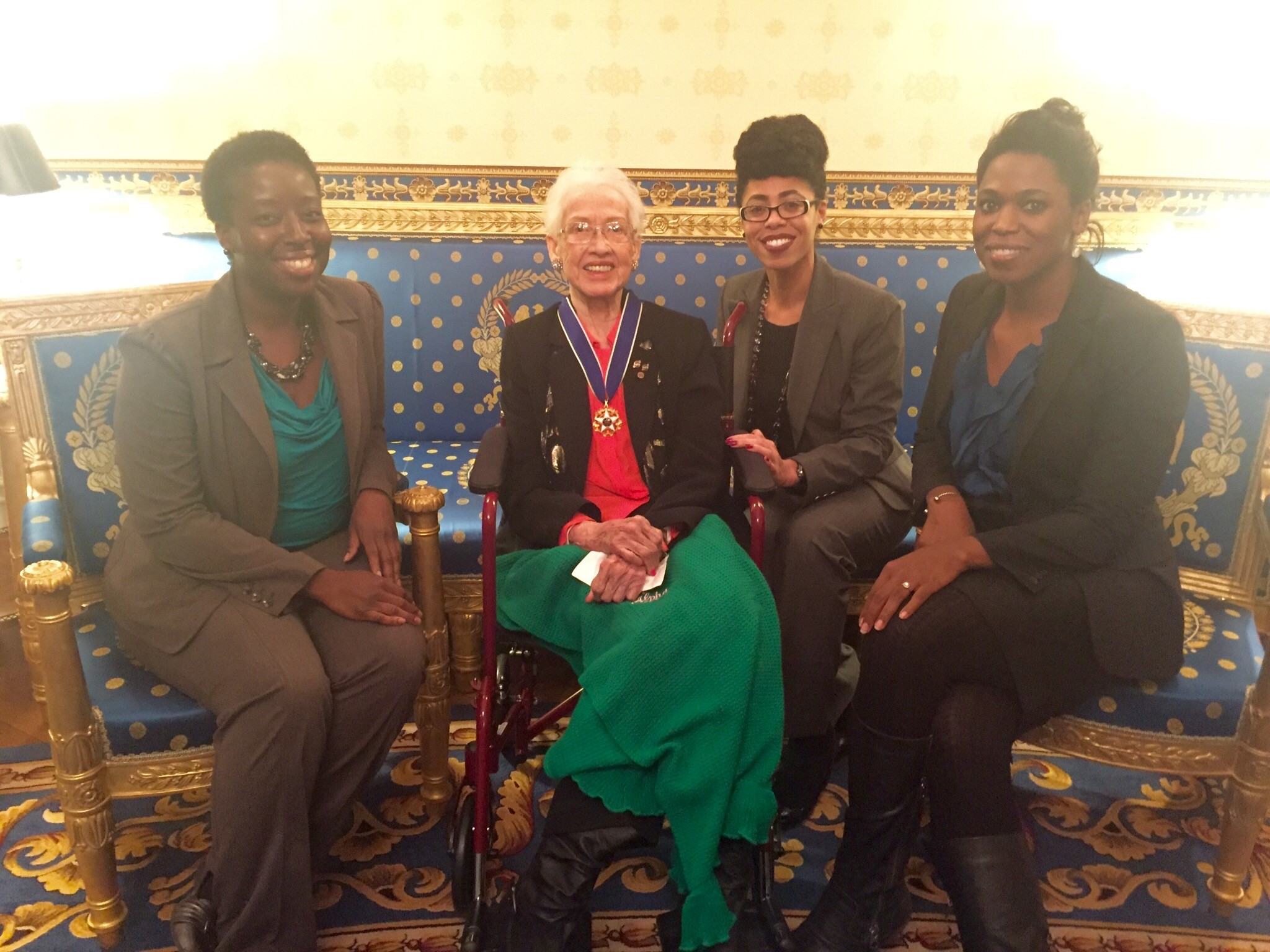 White House Office of Science and Technology staffers meet with Medal of Freedom recipient Katherine Johnson.