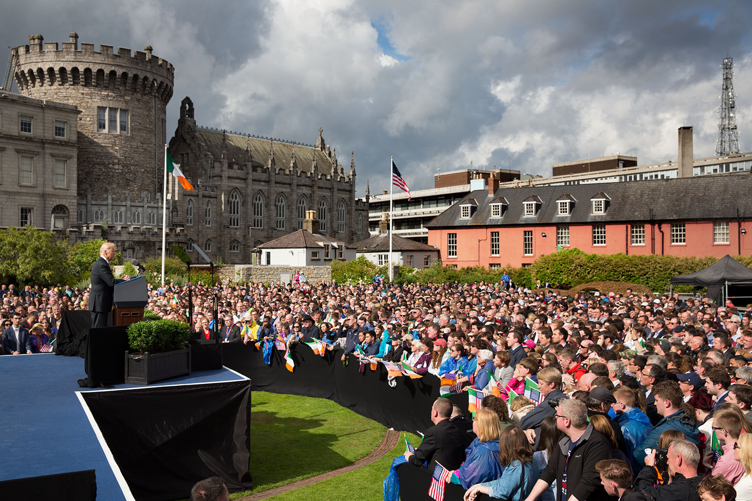 Vice President Joe Biden delivers remarks on the shared heritage of our two nations, and the values of tolerance, diversity and inclusiveness, at Dublin Castle in Dublin, Ireland, June 24, 2016. (Official White House Photo by David Lienemann)