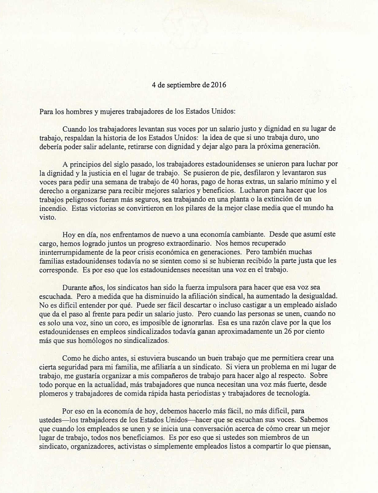 Labor Day Letter from President Obama (Spanish version)