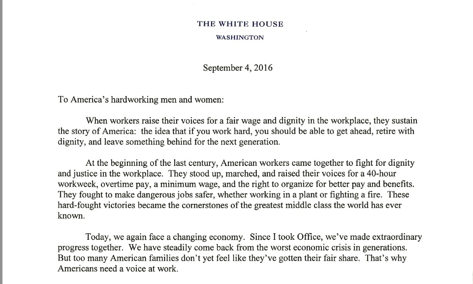 President Obama's letter to workers
