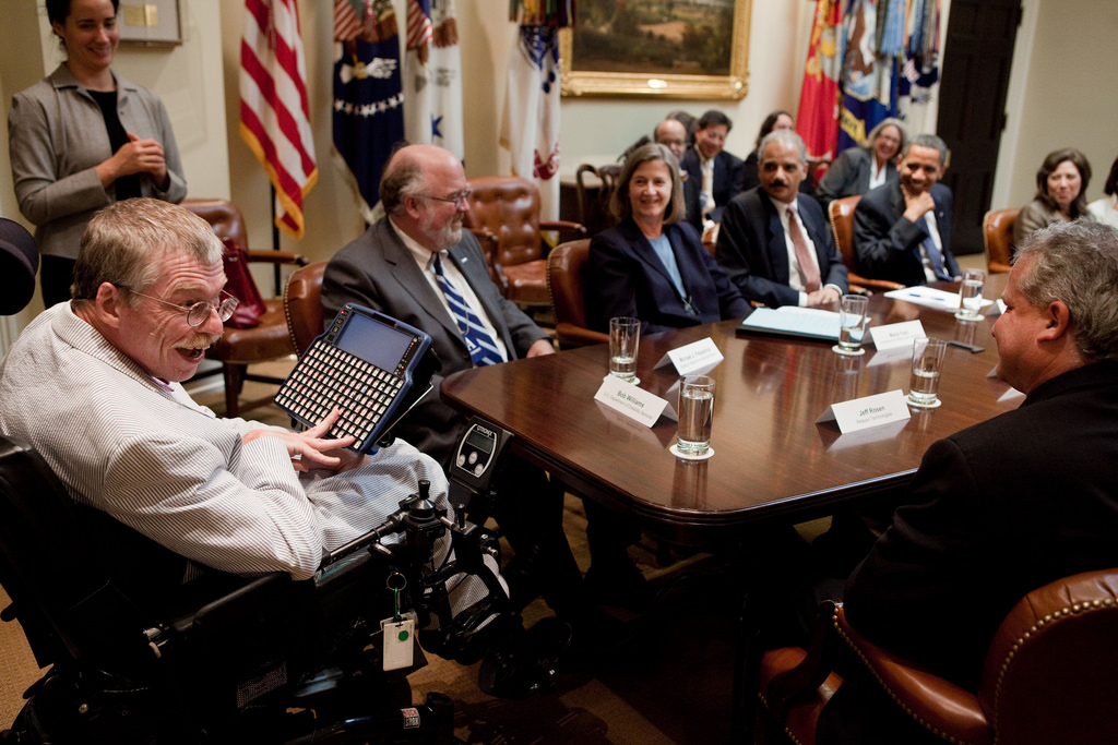 President Barack Obama meets with leaders from the disability community in the Roosevelt Room of the White House on July 24, 2009.