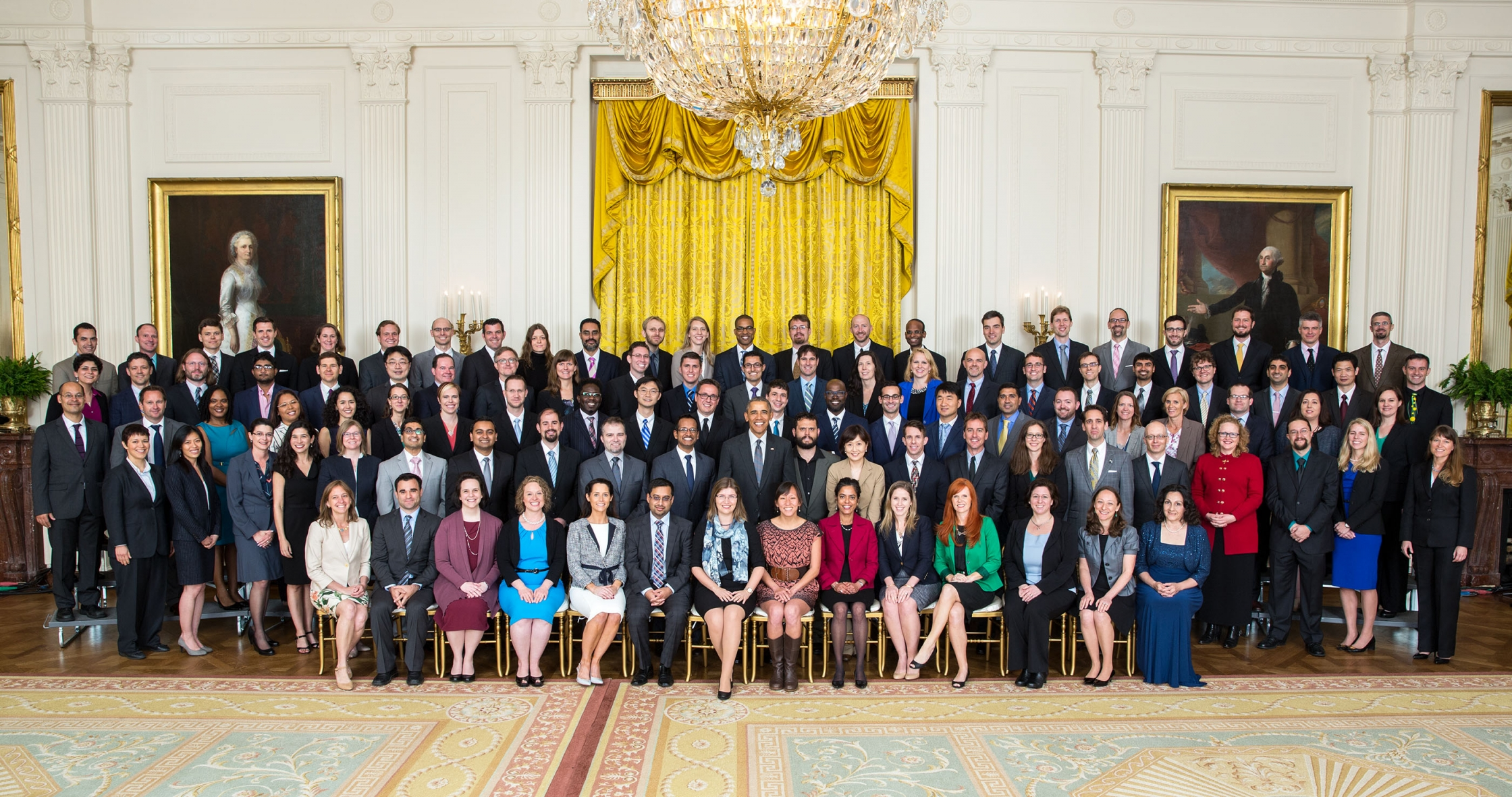 President Barack Obama joins recipients of the 2016 Presidential Early Career Award for Scientists and Engineers (PECASE) for a group photo in the East Room of the White House, May 5, 2016. (Official White House Photo by Lawrence Jackson)